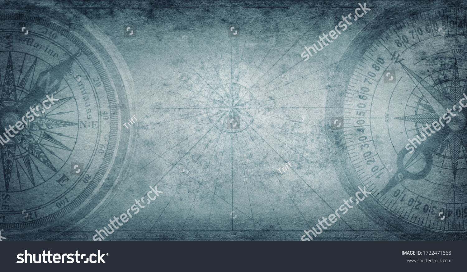 Ancient old compass on the vintage map background. Adventure, discovery, navigation, geography, education, pirate and travel theme concept background. History and geography team. Retro stale. #1722471868