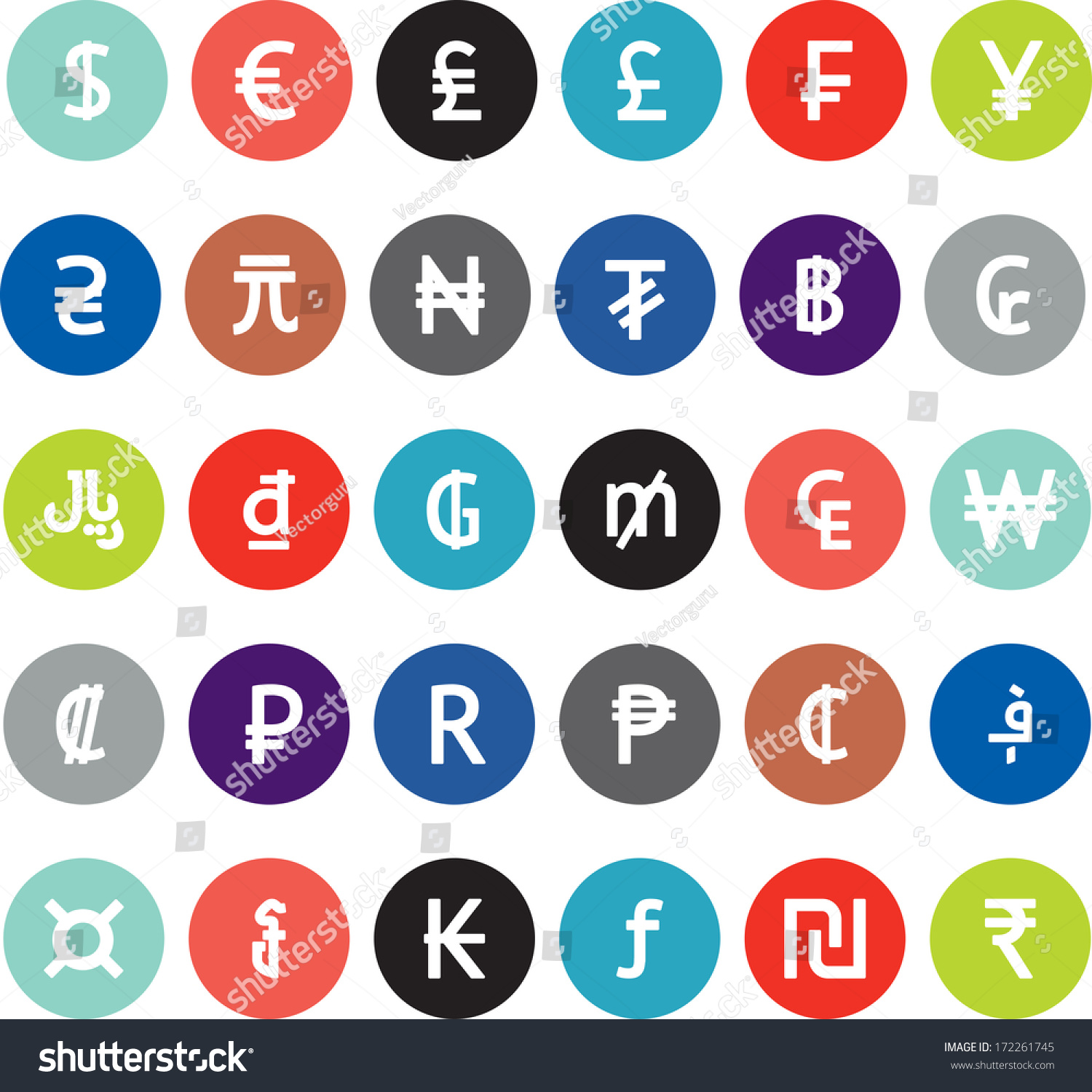 Royalty Free Vector Currency Symbols World Money 172261745 Stock