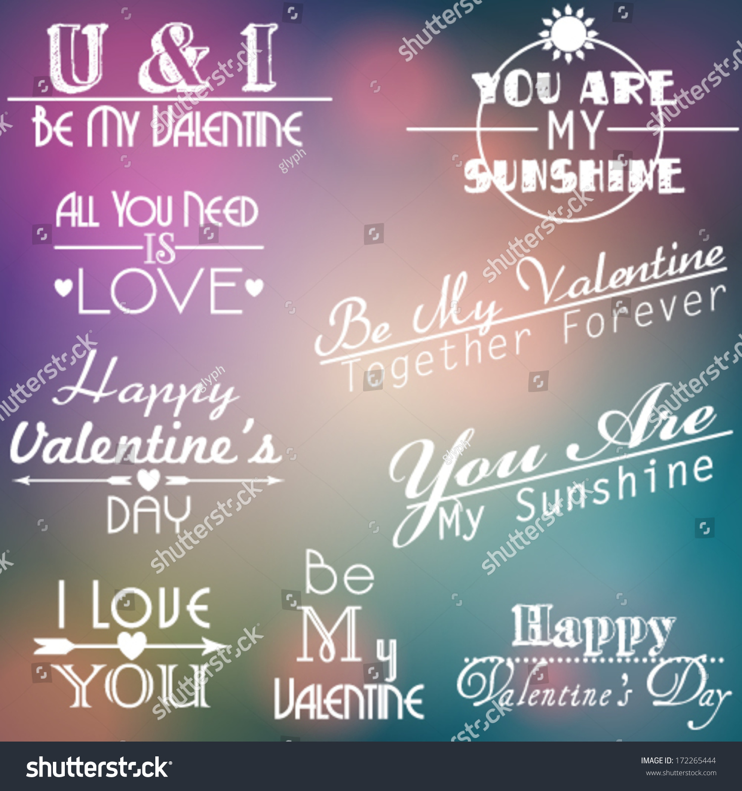 vector large set of romantic valentines day texts on beautiful soft focus bokeh glittering