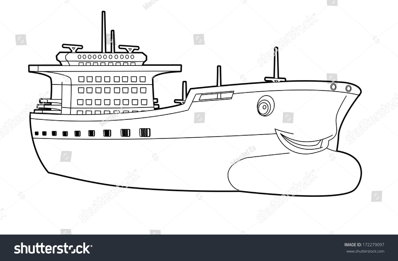 Coloring Page Boat Illustration Children Stock Illustration ...