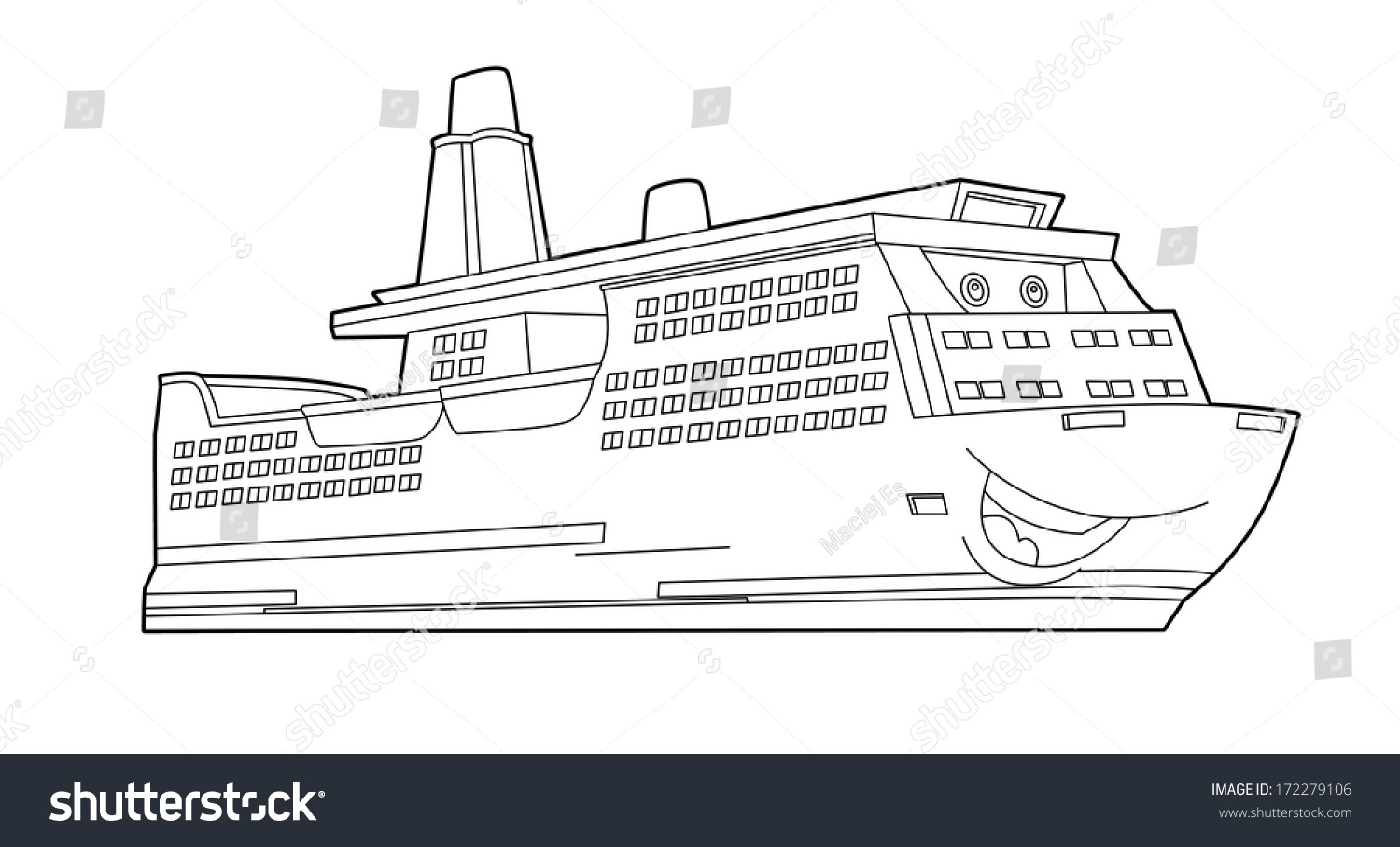 Coloring Page Boat Illustration Children Stock Illustration ...