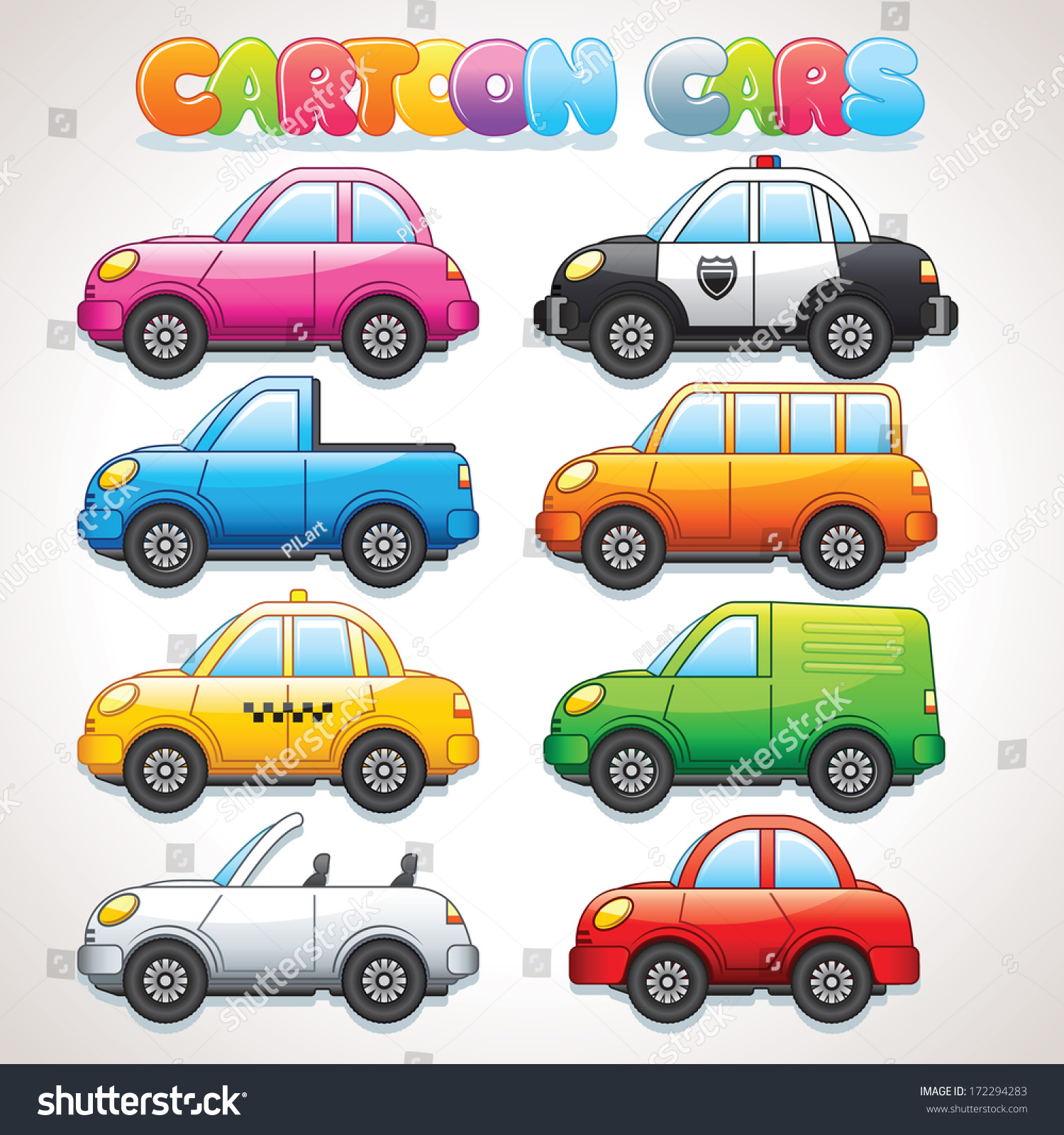 Cute Cartoon Cars Police Taxi Cabrio Stock Vector ...