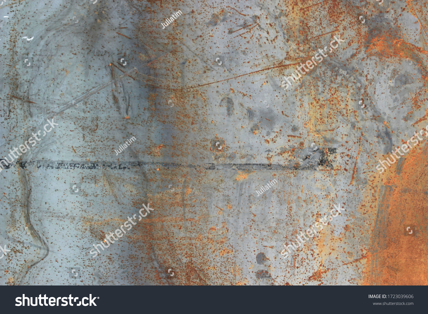 Backgrounds and textures concept.Blurred gray rusty grunge metal texture with Instagram style filter. Vintage effect. #1723039606