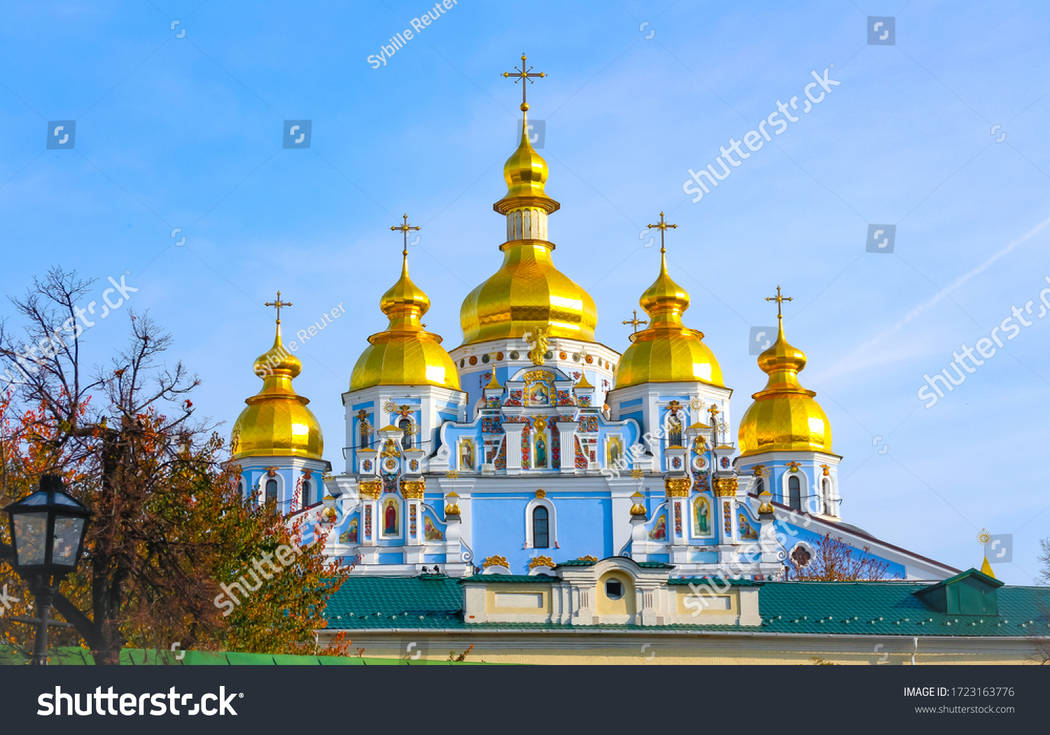 St. Michael's Golden-Domed Monastery, a functioning monastery with its iconic gold colored domes and blue facade in Kiev, capital of Ukraine.