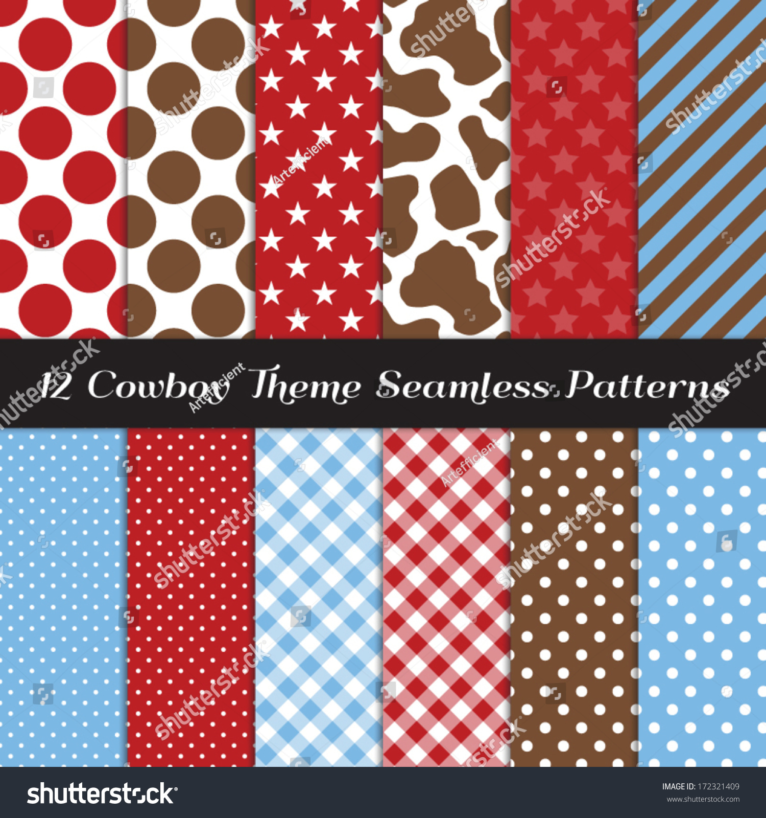Cowboy theme seamless pattern pack cow stock vector for Dots and stripes party theme
