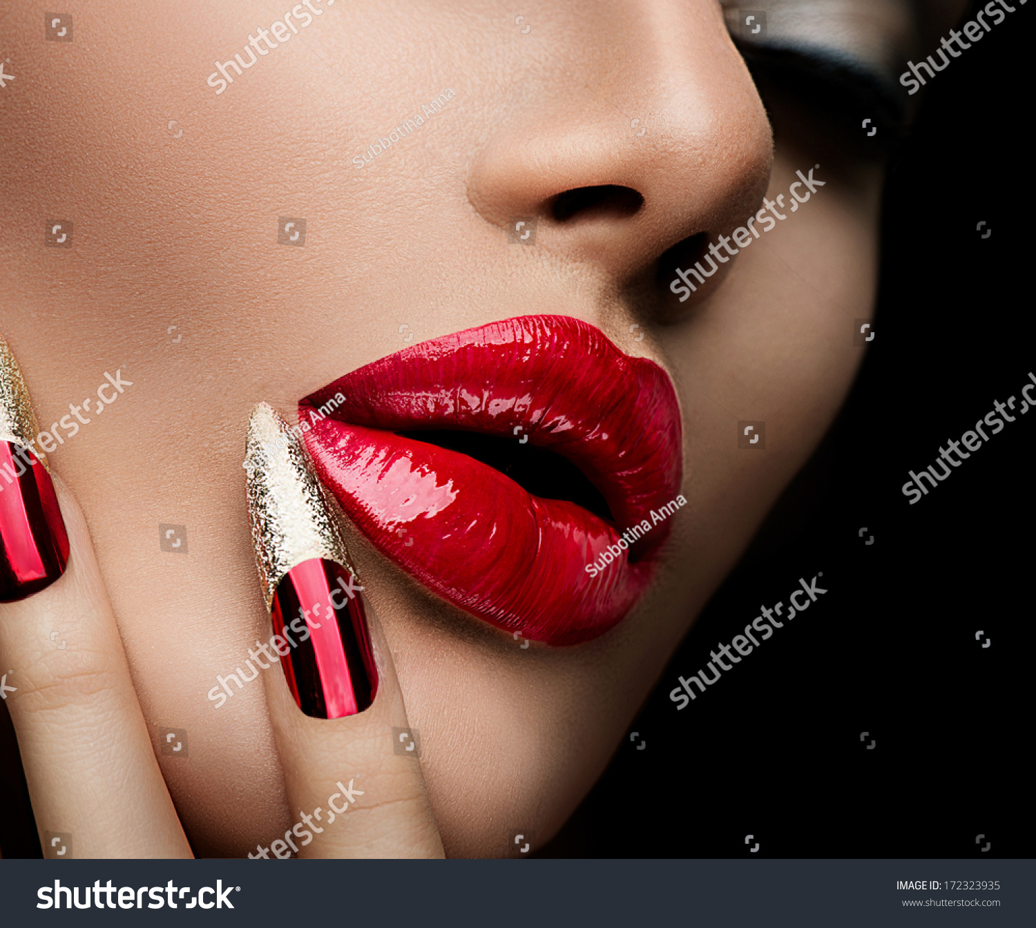 Beauty Concept Fashion Model Girl Face Stock Photo (Royalty Free ...