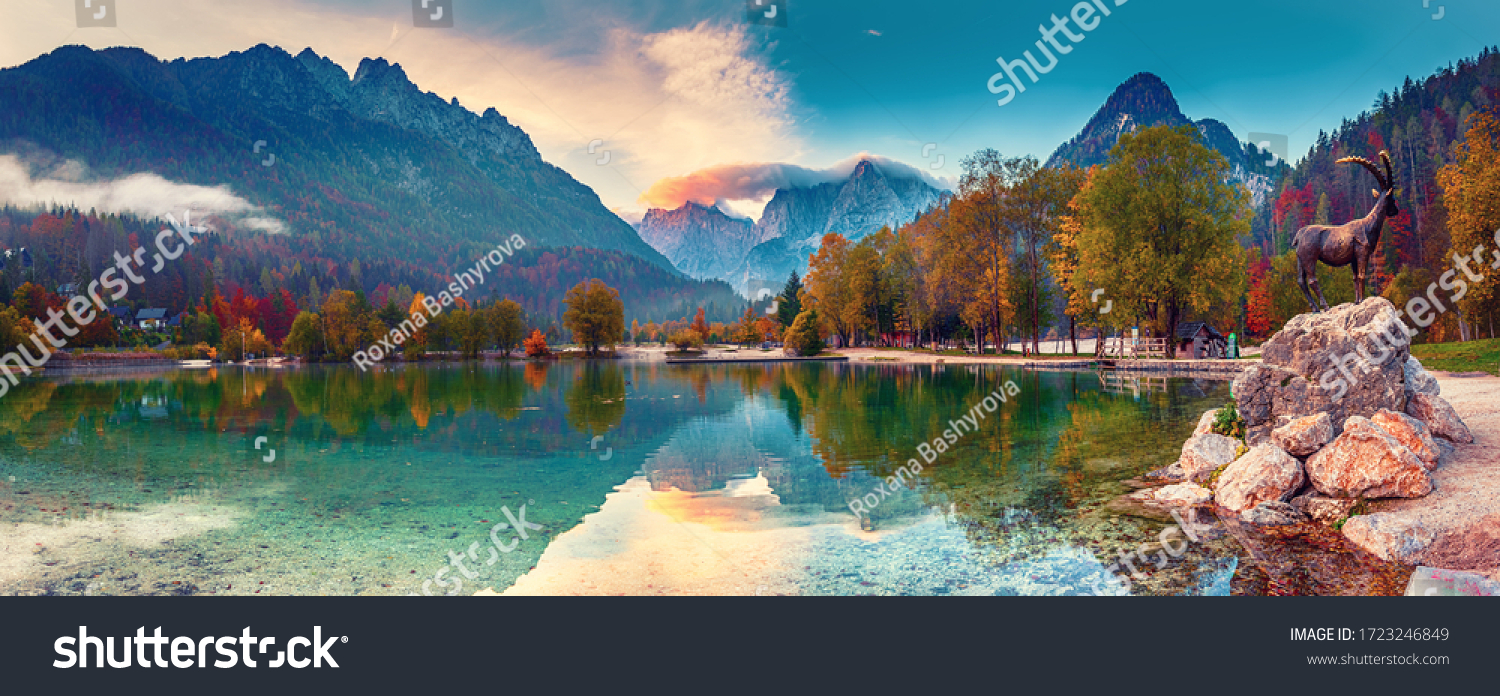 Jasna lake with beautiful reflections of the mountains. Triglav National Park, Slovenia #1723246849