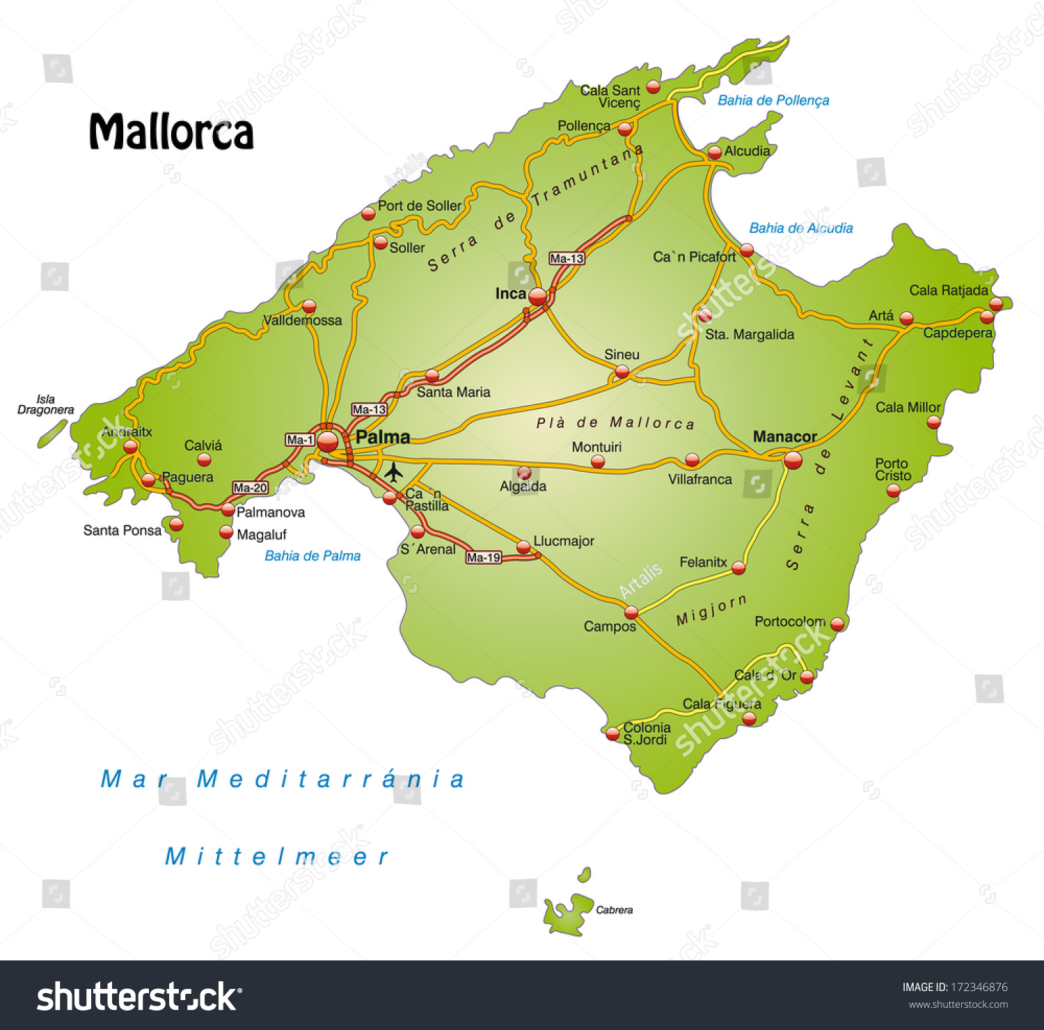 Mallorca Map Images Stock Photos Vectors Shutterstock