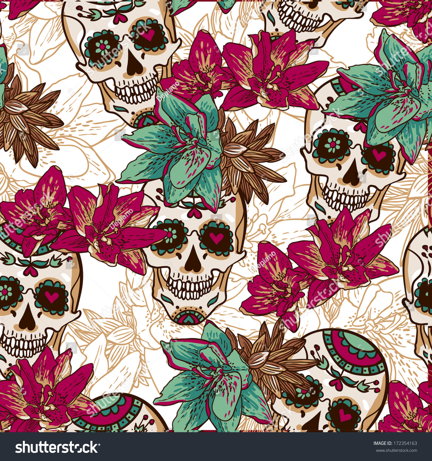 Skull And Flowers Background