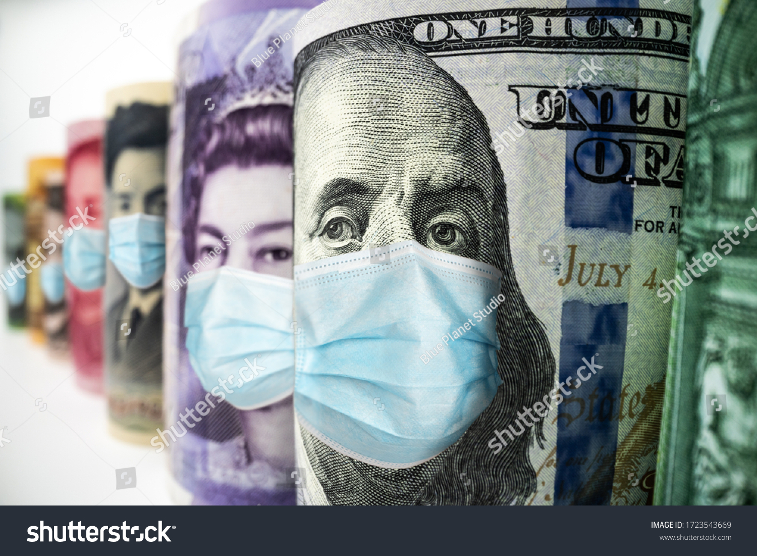 Business and money in covid 19 crisis - International money wearing face mask effected by covid 19 outbreak in concept of money saving and money investment under covid 19 situation. #1723543669