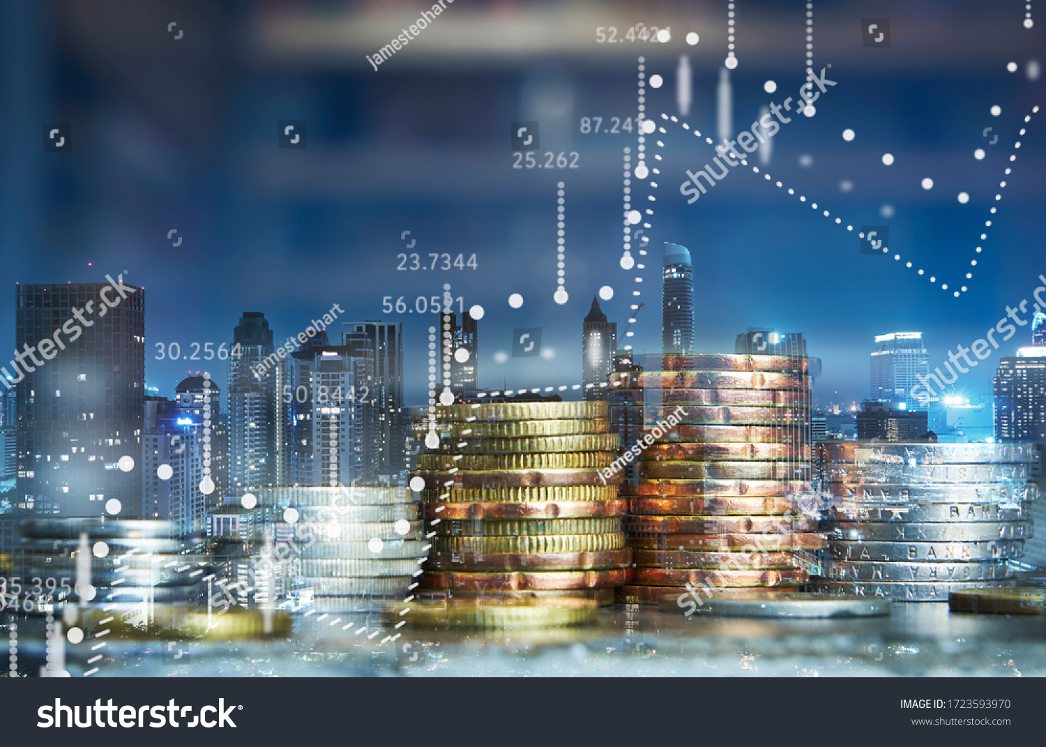Double exposure of coins stack with graph chart and night cityscape. Economic, business, financial and stock market growth concept. #1723593970