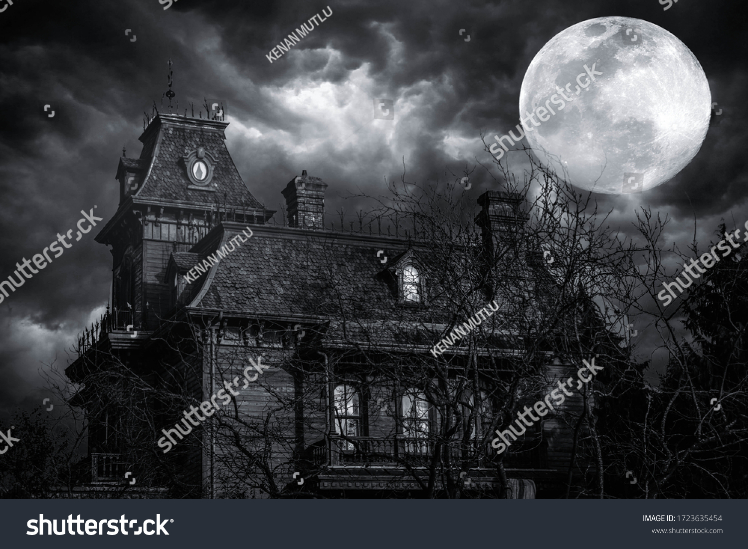 In a stormy weather. Old american type wooden house. Horror house #1723635454