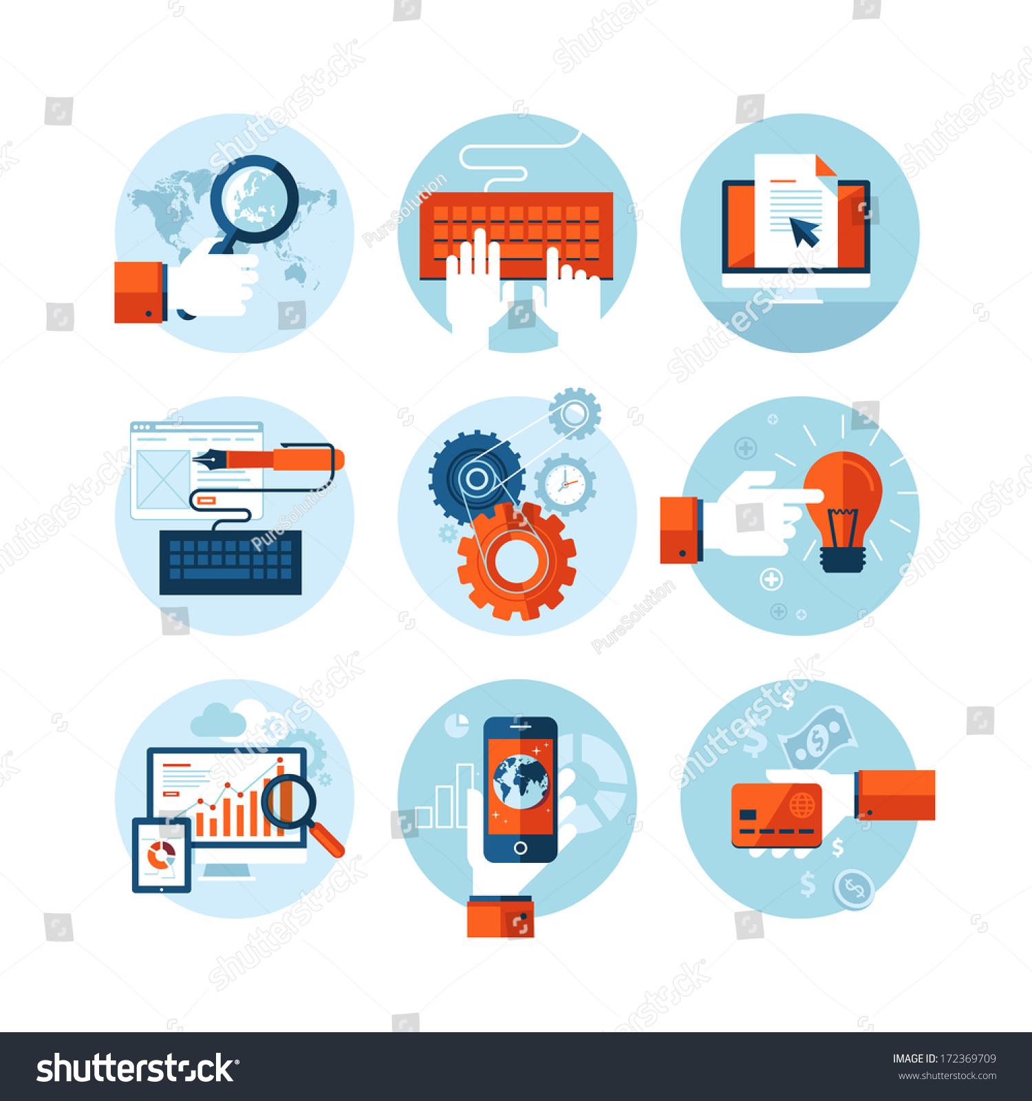 Set Modern Flat Design Icons On Stock Vector 172369709 - Shutterstock