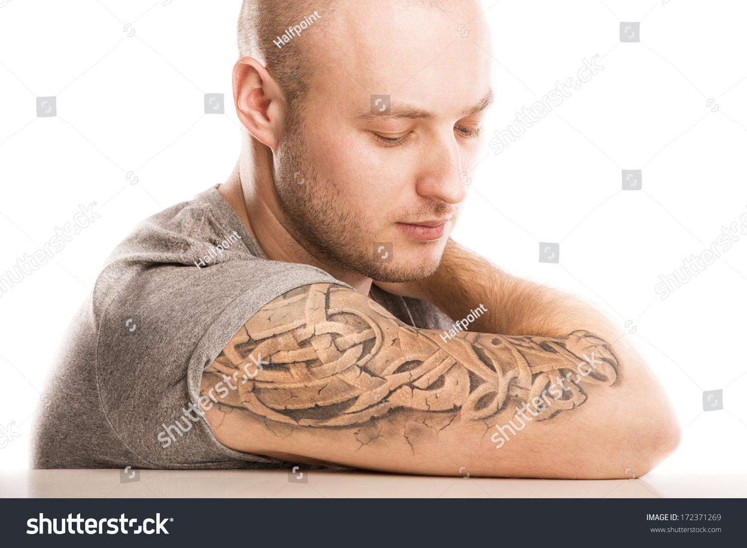 young handsome tattoo isolated shutterstock