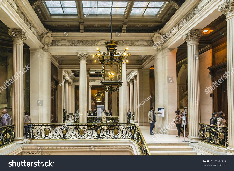 file la sorbonne hall ceiling. PARIS, FRANCE - SEPTEMBER 14, 2013: Interior Of Sorbonne University. Name Is File La Hall Ceiling
