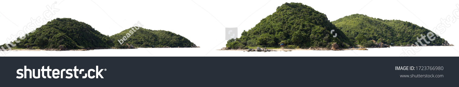 Panorama island, hill, mountain isolated on a white background, with clipping path. Mountain peak. #1723766980