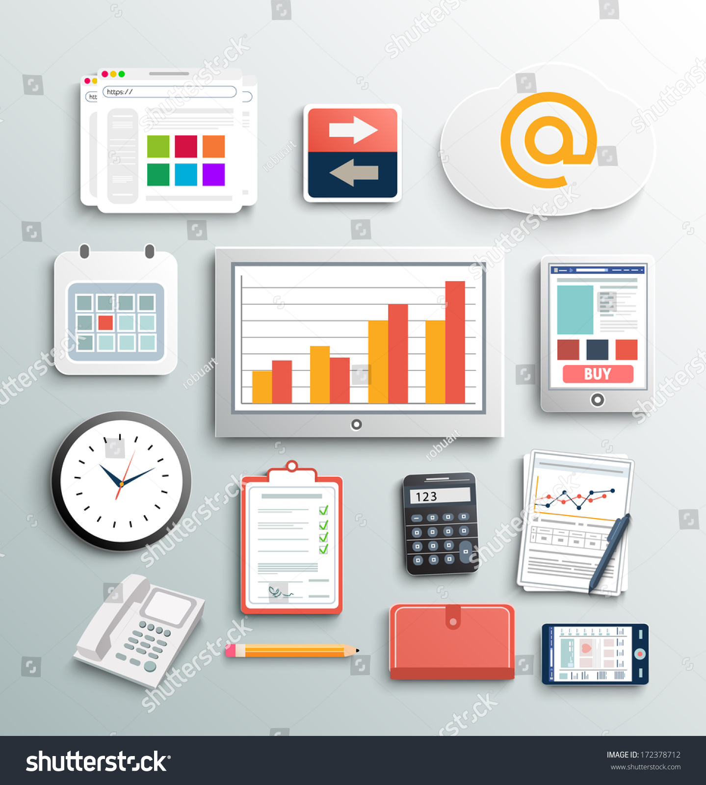Workplace office and business work elements set mobile devices and documents stock vector - Office for mobile devices ...