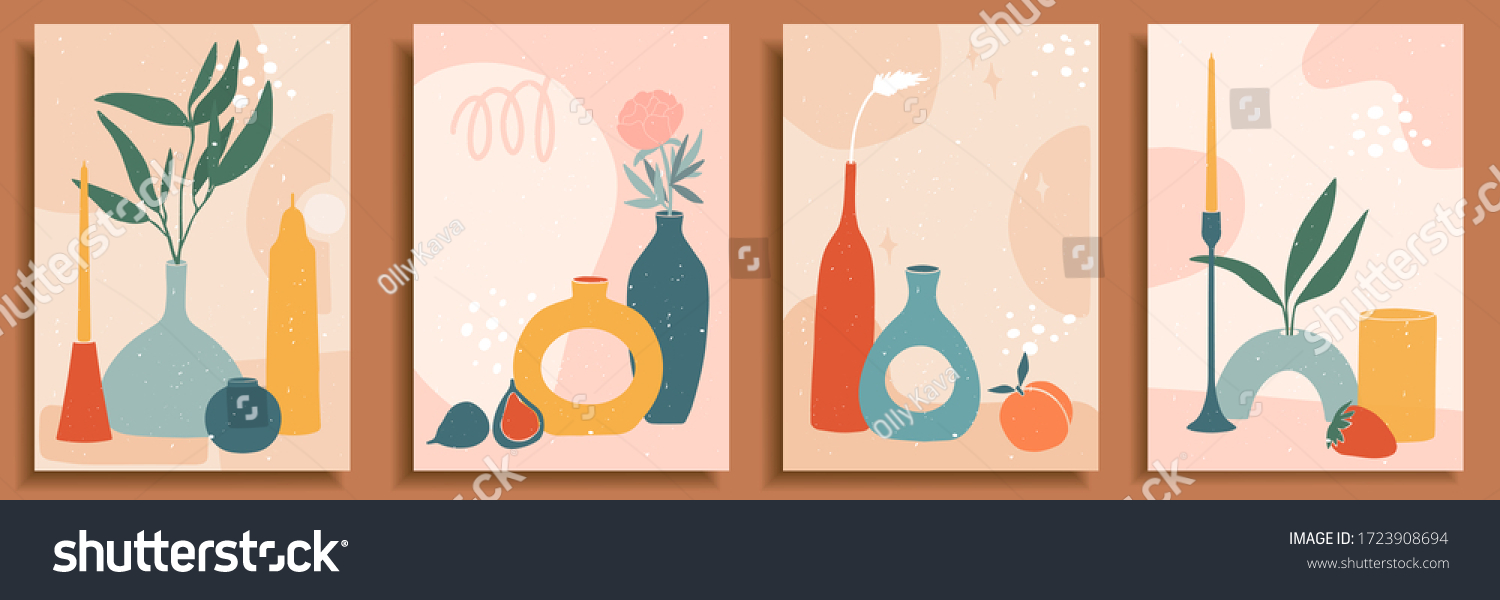 Abstract still life in pastel colors. Collection of contemporary art. Abstract paper cut elements, fruits for social media, posters, postcards, print. Hand drawn vase, candle, leaves, flowers, fruits. #1723908694