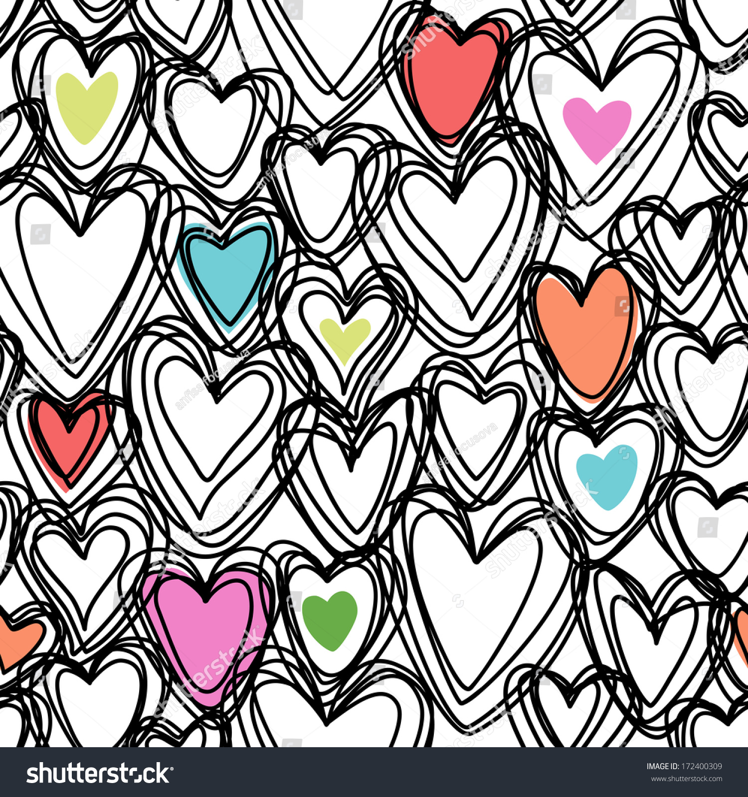 Vector Seamless Pattern Color Hearts Doodles Stock Vector 172400309 ...