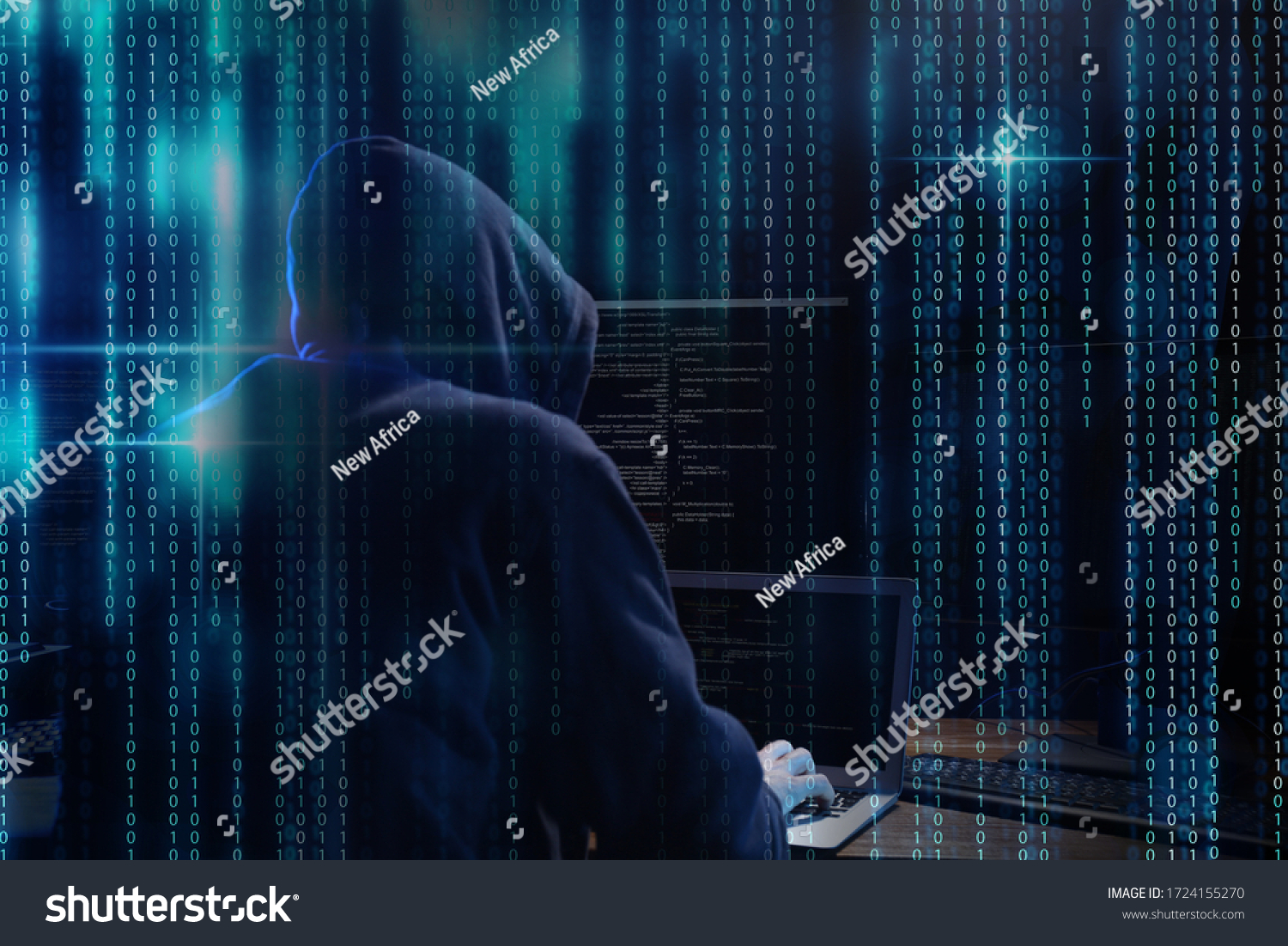 Cyber criminal hacking system at table, digital binary code on foreground #1724155270