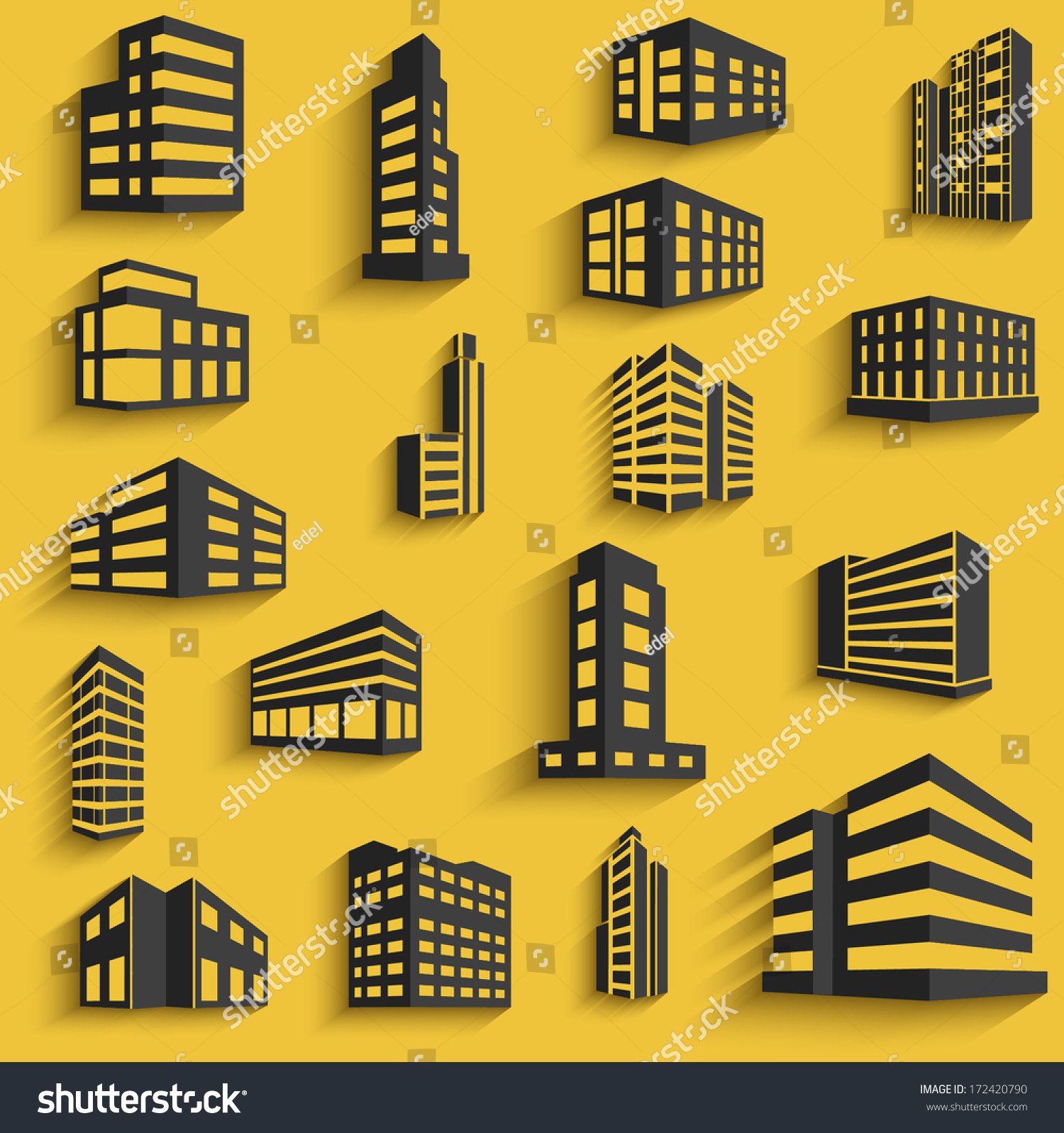 Buildings flat design web icons set stock vector 172420790 for Building design website