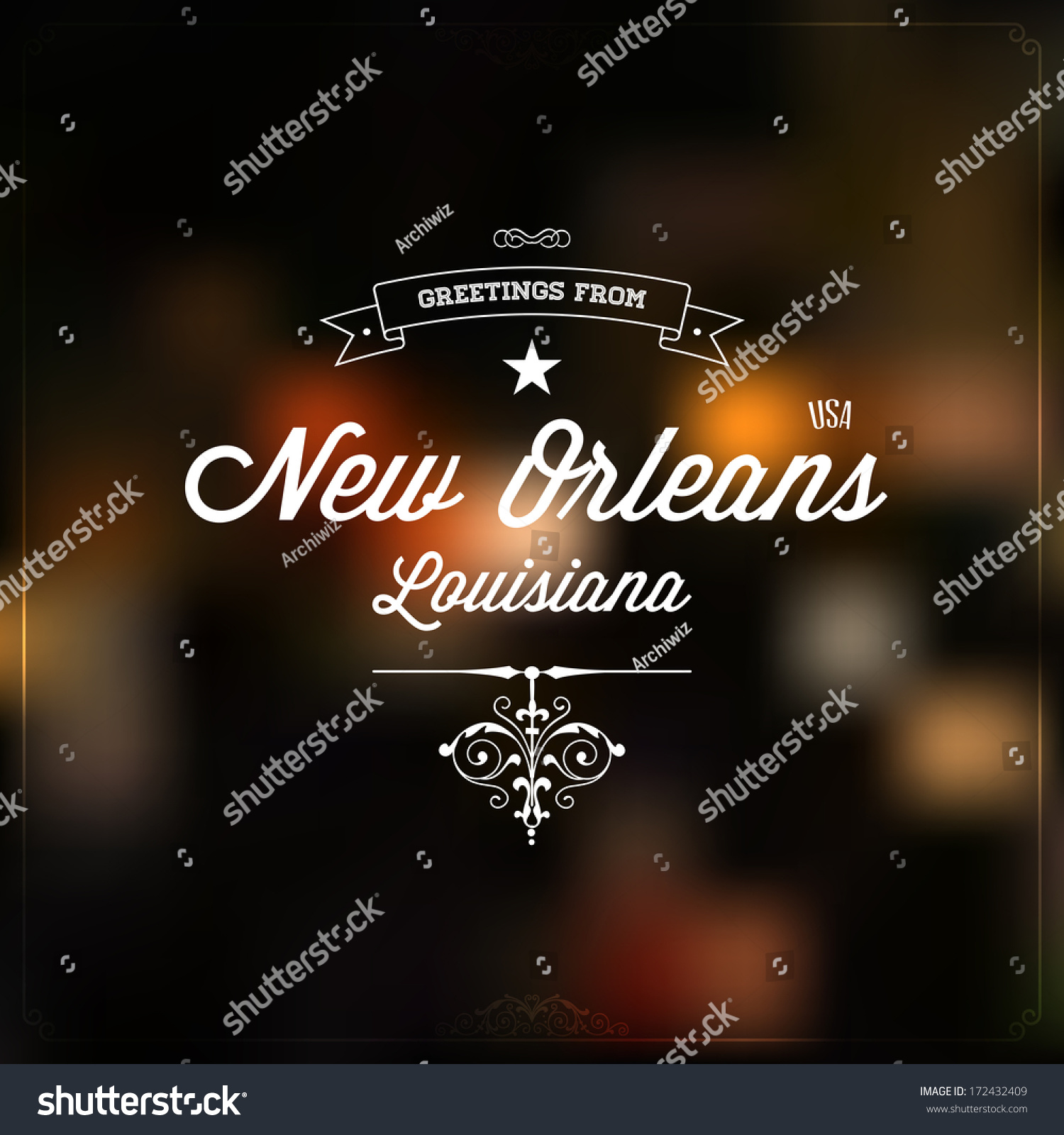 Retro typography vintage touristic greeting label stock vector retro typography vintage touristic greeting label on blurry background greetings from new orleans m4hsunfo