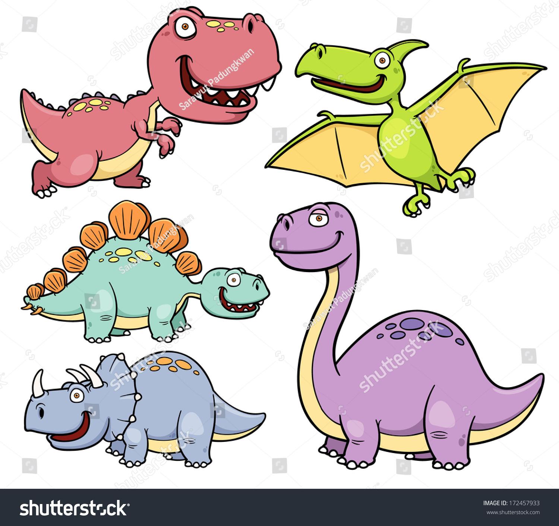 Vector Illustration Dinosaurs Cartoon Characters Stock Vector 172457933