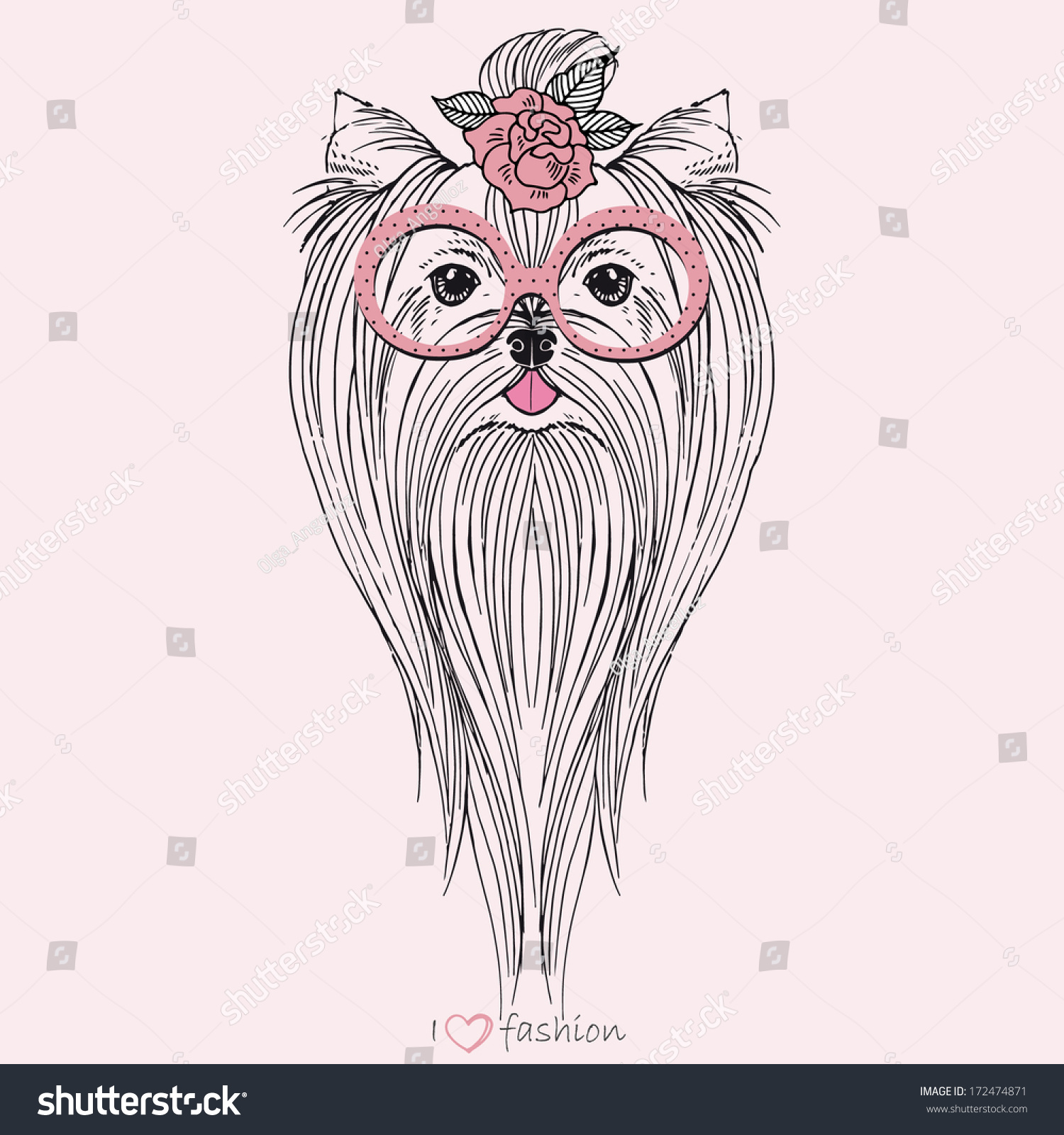 hand drawn portrait yorkshire terrier hipster stock vector