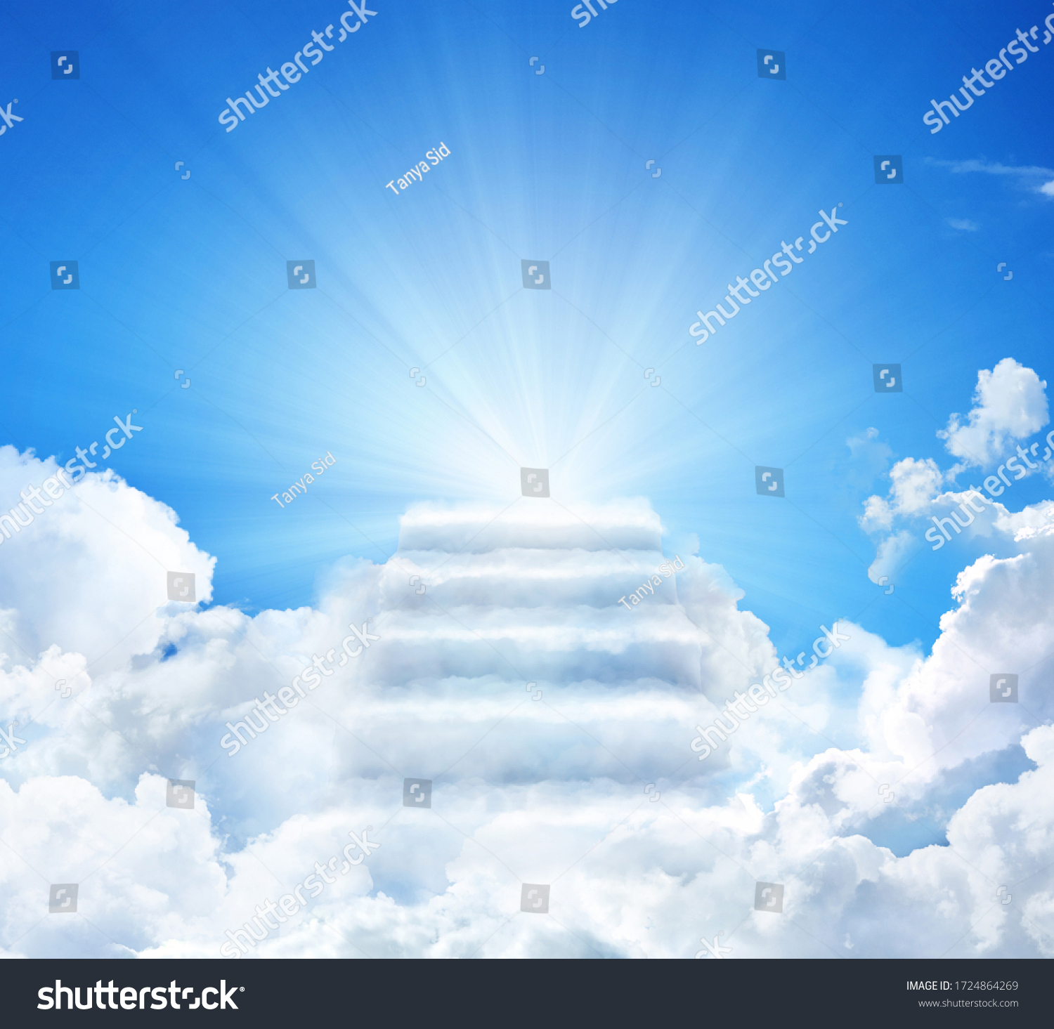 Cloud stairway to Heaven. Stairs in sky. Concept Religion background #1724864269