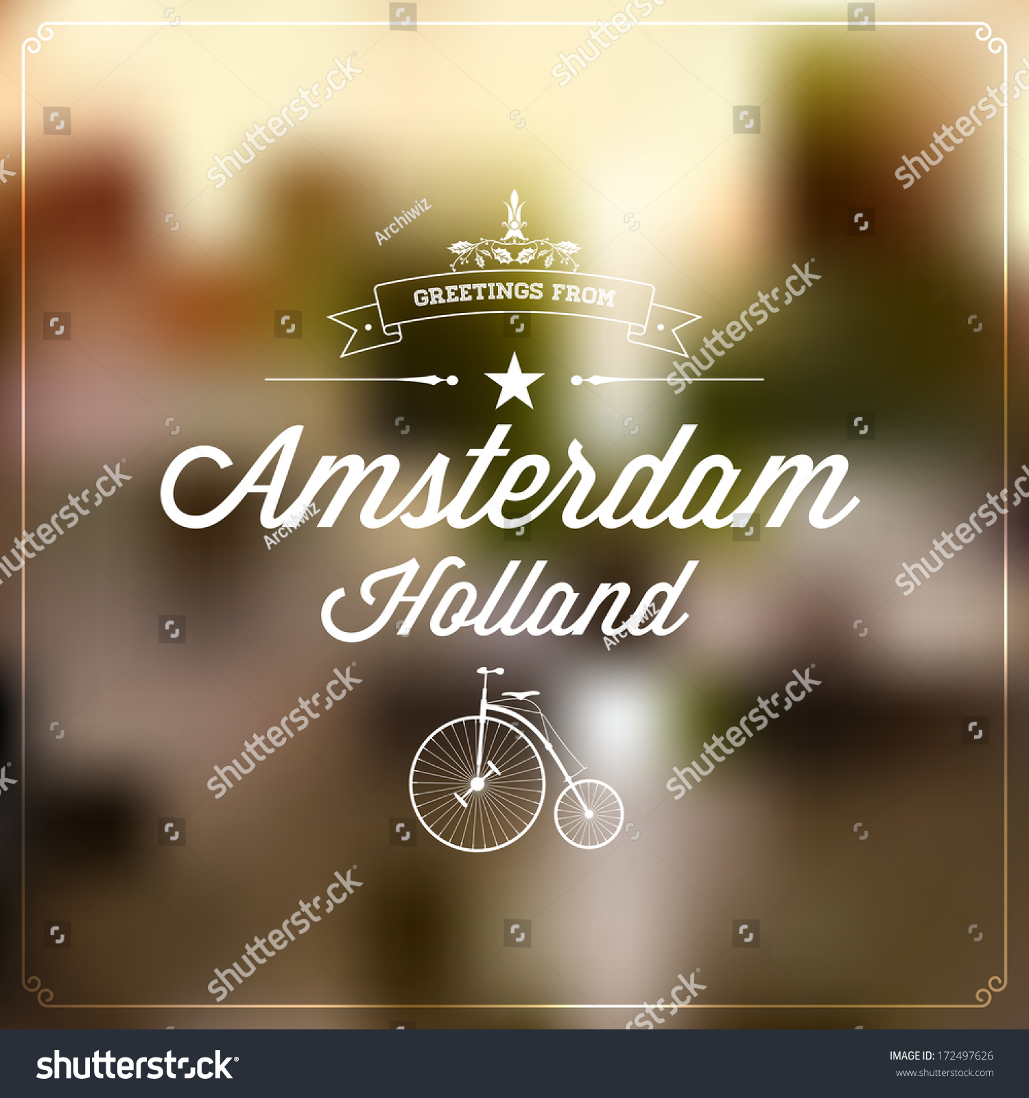 Royalty free retro typography vintage touristic 172497626 stock retro typography vintage touristic greeting label on blurry background greetings from amsterdam holland m4hsunfo