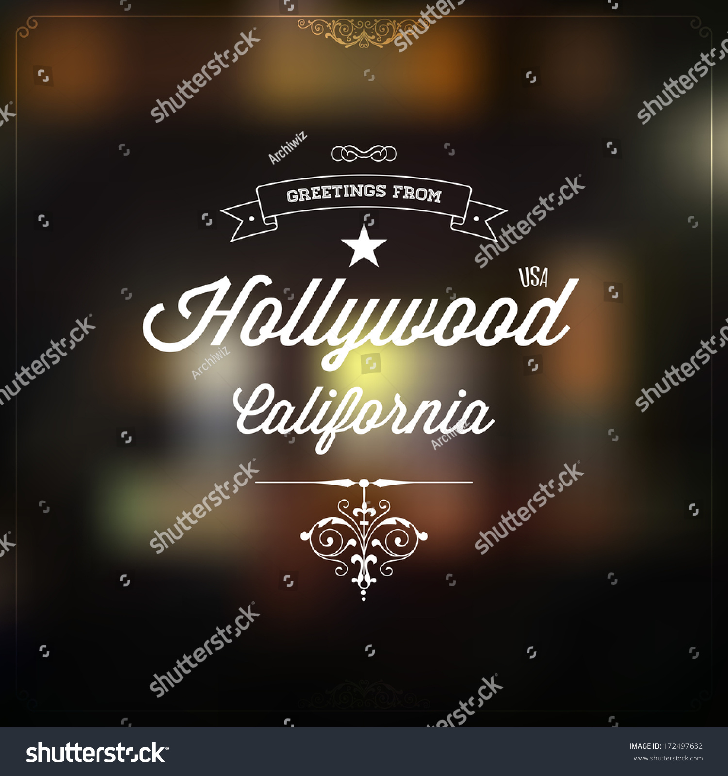 Retro Typography Vintage Touristic Greeting Label On Blurry Background Greetings From Hollywood California