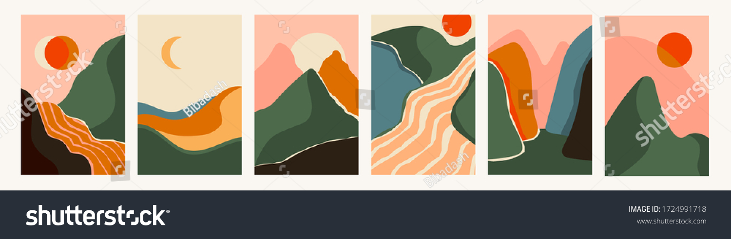 Mountain, river view. Hills, clouds, sun, moon. Paper cut style. Flat abstract design. Scandinavian style illustration. Set of six hand drawn trendy Vector illustrations. Cool Backgrounds