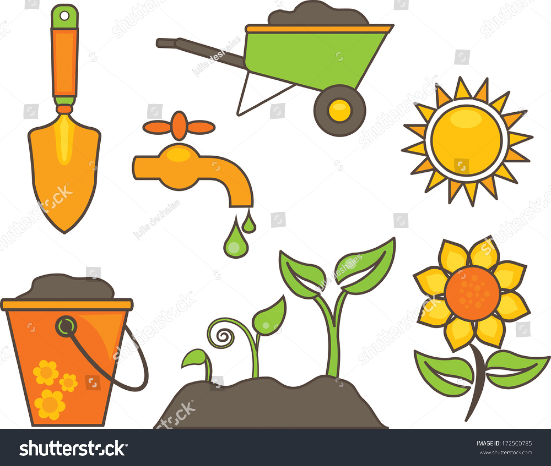 garden tools furniture cartoon illustration vector stock