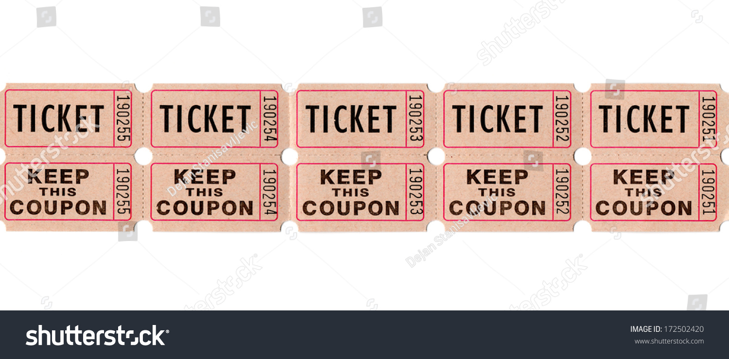 real paper retro vintage ticket stub for movies cinema raffle event or performance