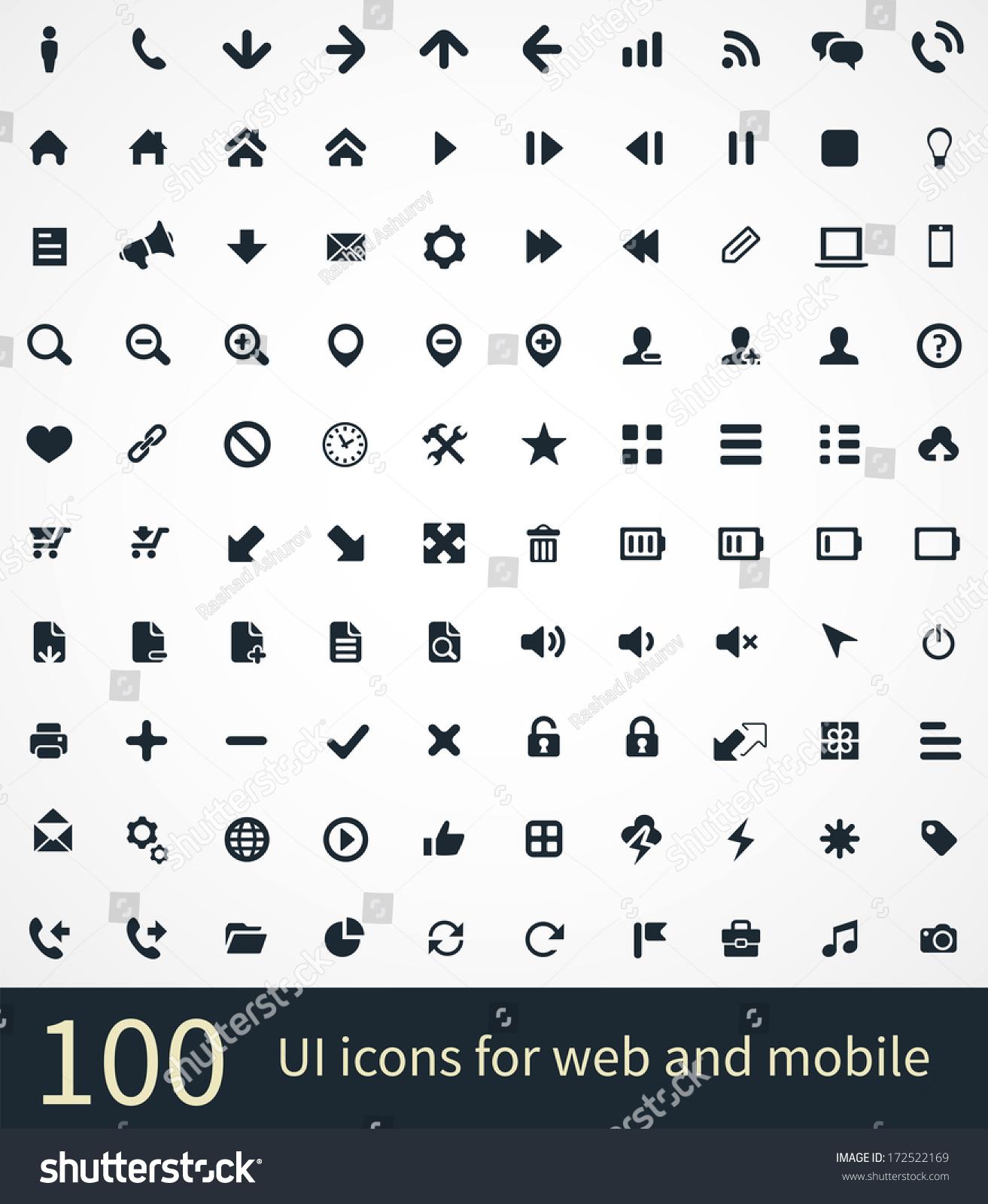 Ui Icons Vector Set Stock Vector 172522169 - Shutterstock
