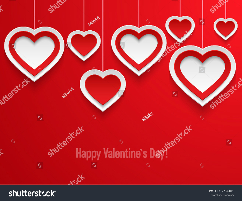 hanging valentines hearts vector illustration stock vector