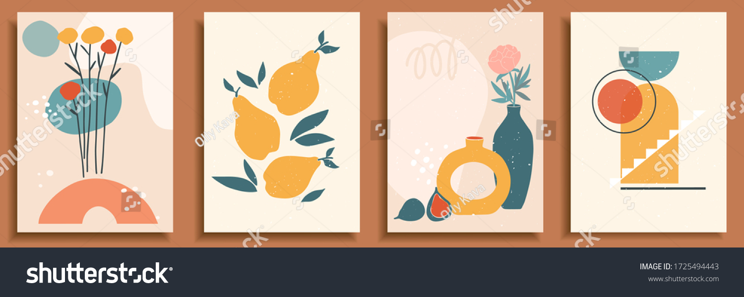 Abstract still life in pastel colors. Collection of contemporary art. Abstract geometrical elements, shapes for social media, posters, postcards, print. Hand drawn vase, leaves, flowers, fruits, pear. #1725494443