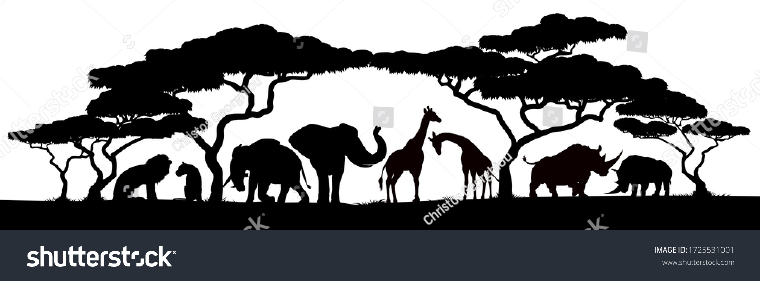 African safari animals and trees in silhouettes wildlife wallpaper