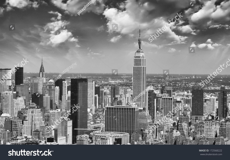 new york city skyline aerial view stock photo 172568222 shutterstock. Black Bedroom Furniture Sets. Home Design Ideas