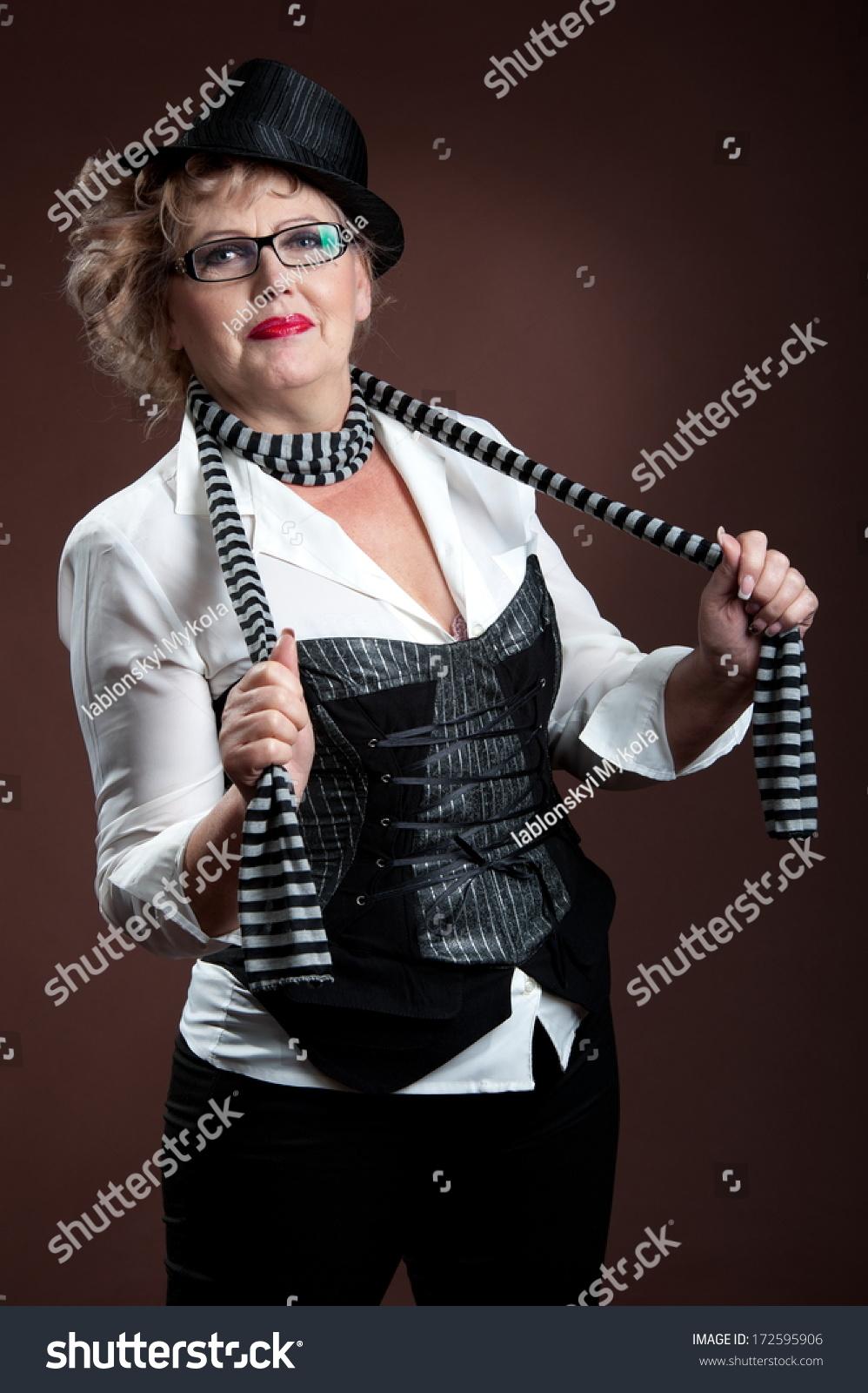 Elderly Woman Portrait In Retro Style Stock Photo 172595906 ...