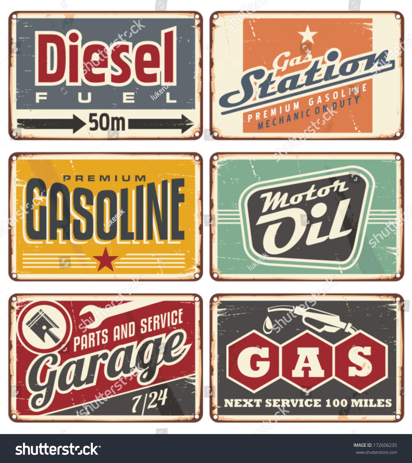 Vintage Metal Car Signs : Gas stations car service vintage tin stock vector