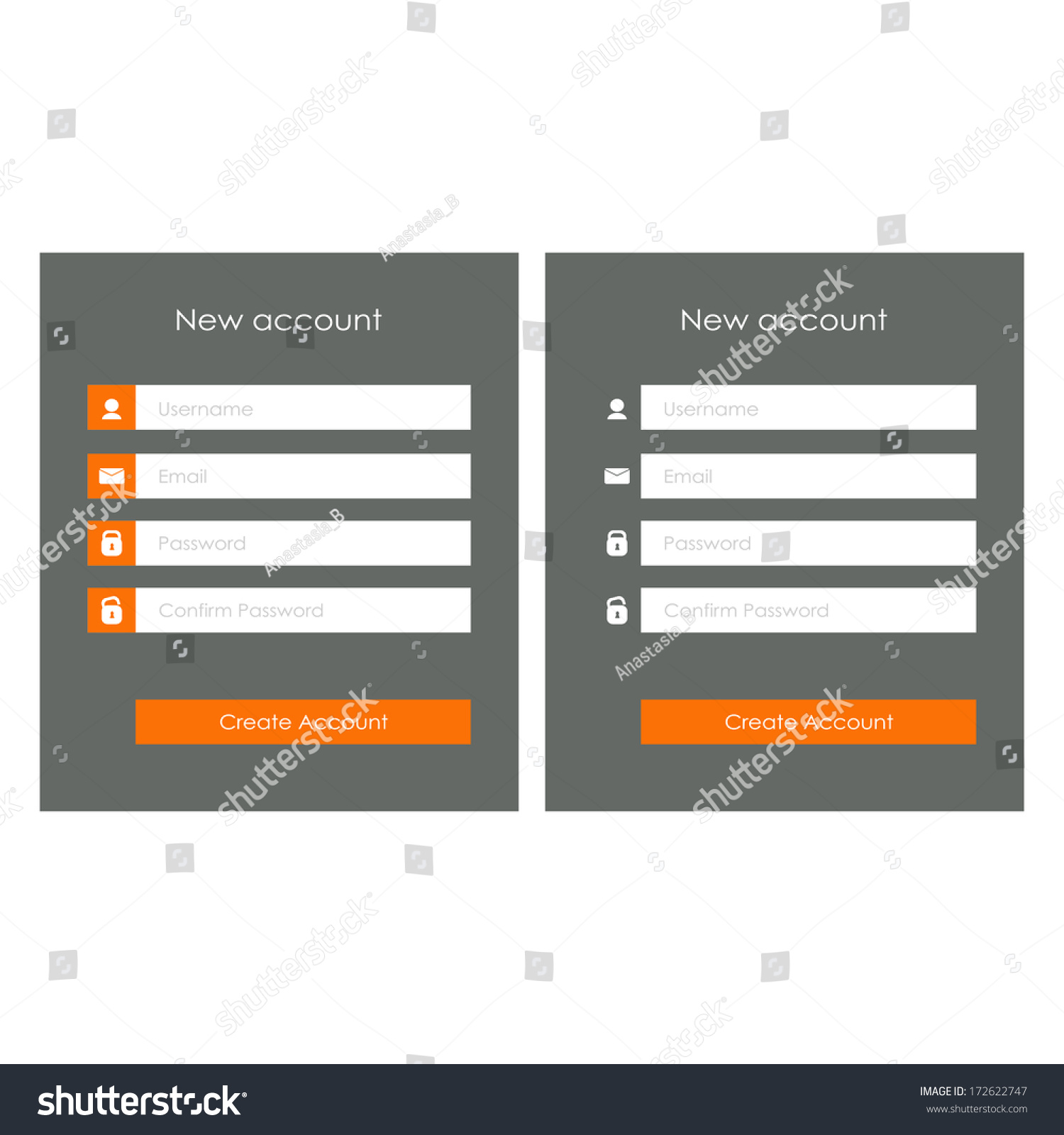 Registration Form Template Website Flat Design Stock Vector ...