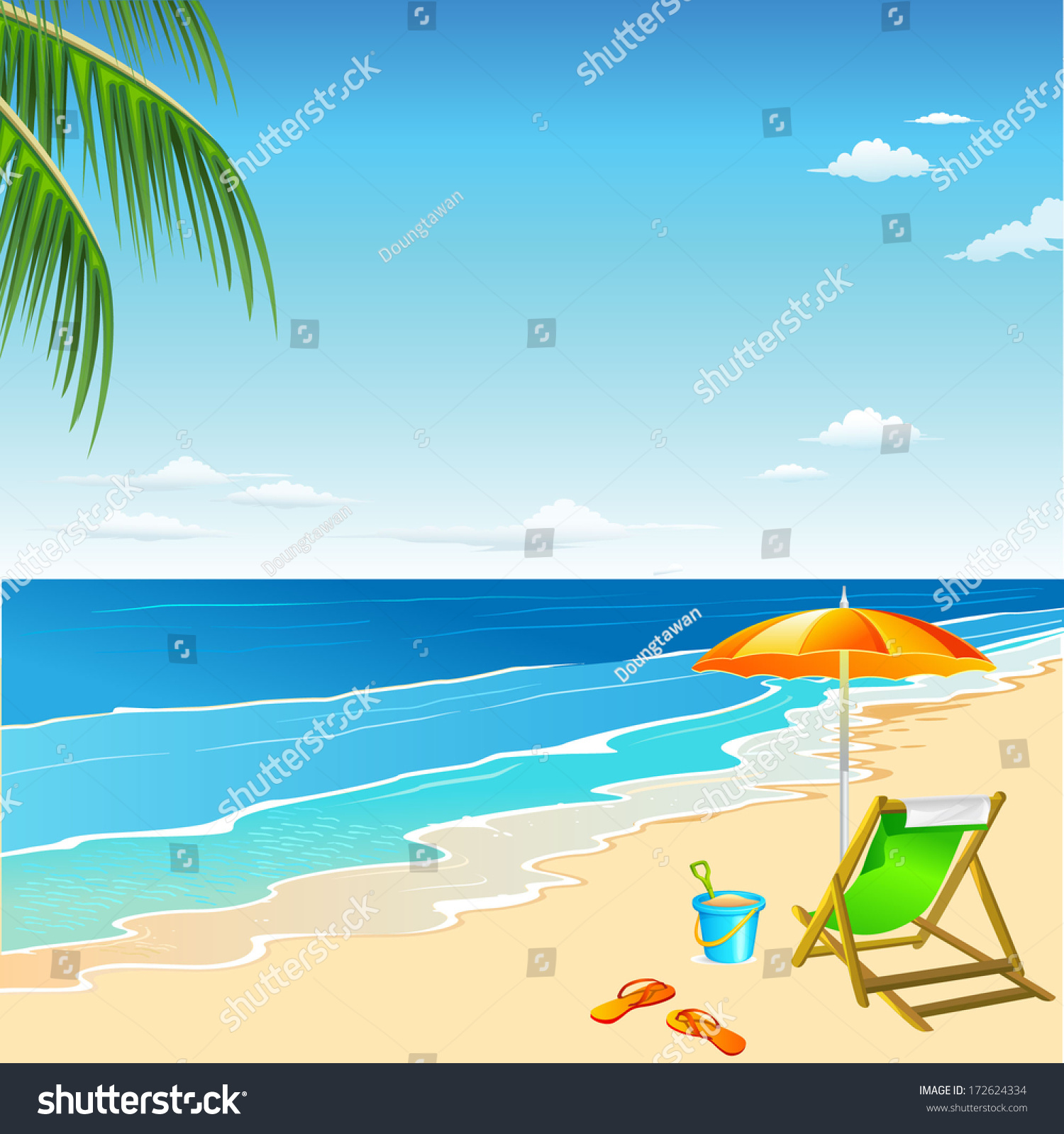 Beach Chair Umbrella Sand Beach Stock Vector