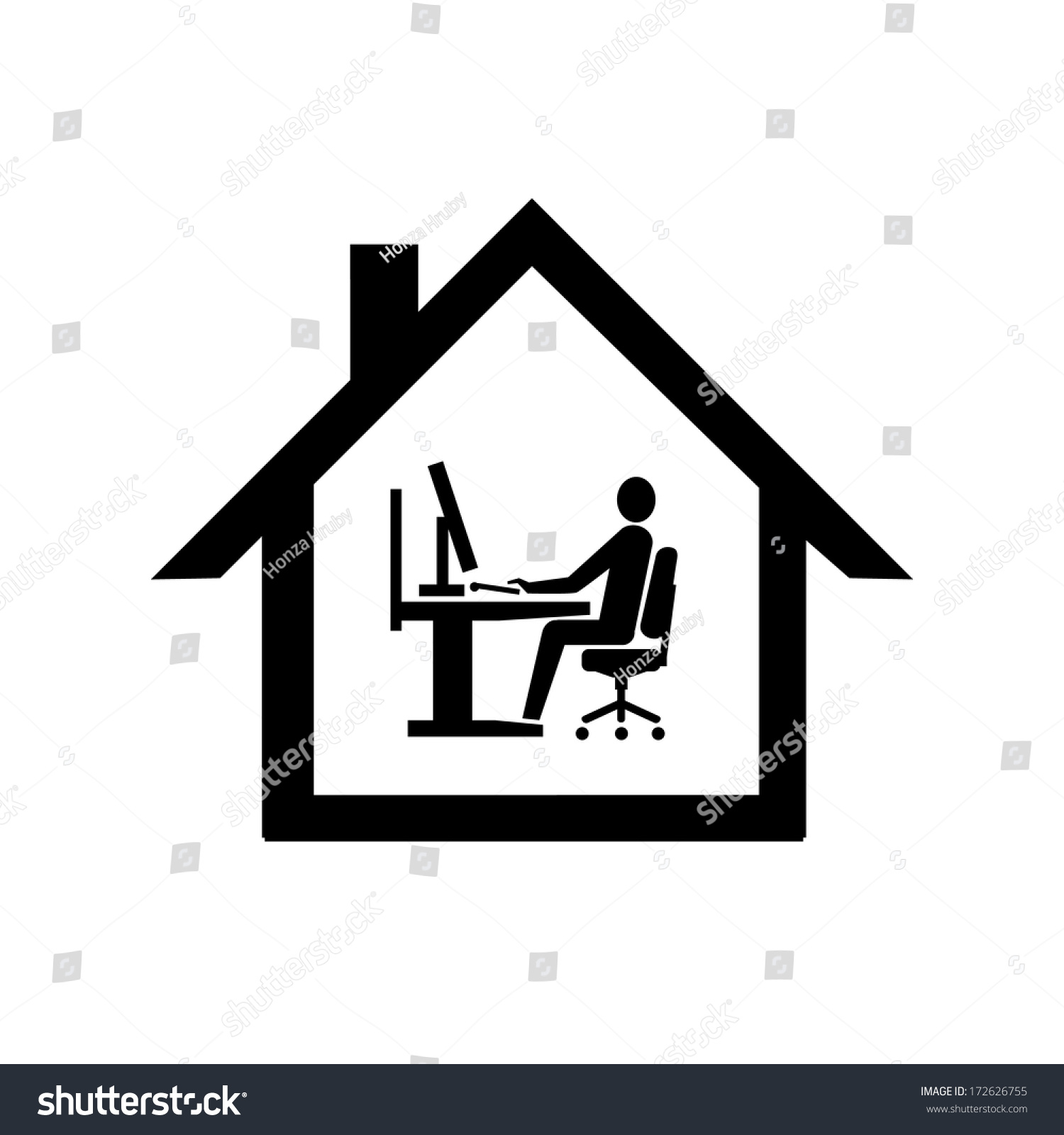 Vector home office icon flat design stock vector 172626755 for Office design vector