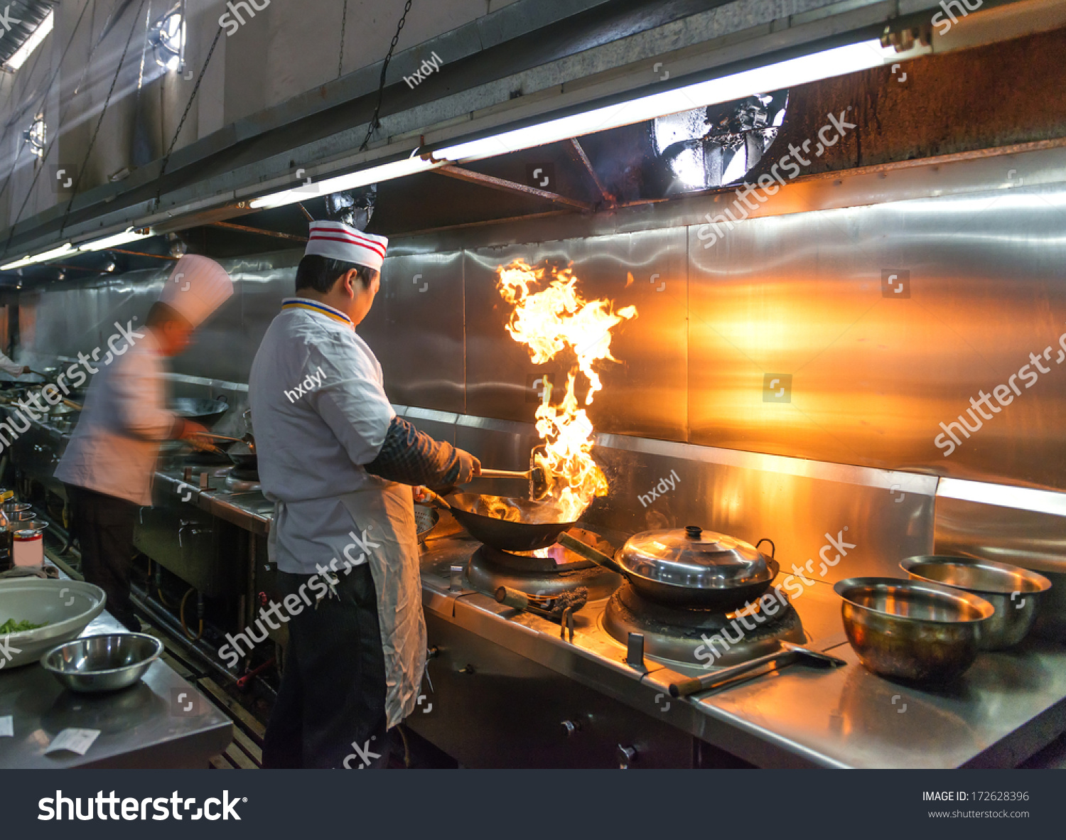 Crowded Kitchen A Narrow Aisle Working Chef Stock Photo