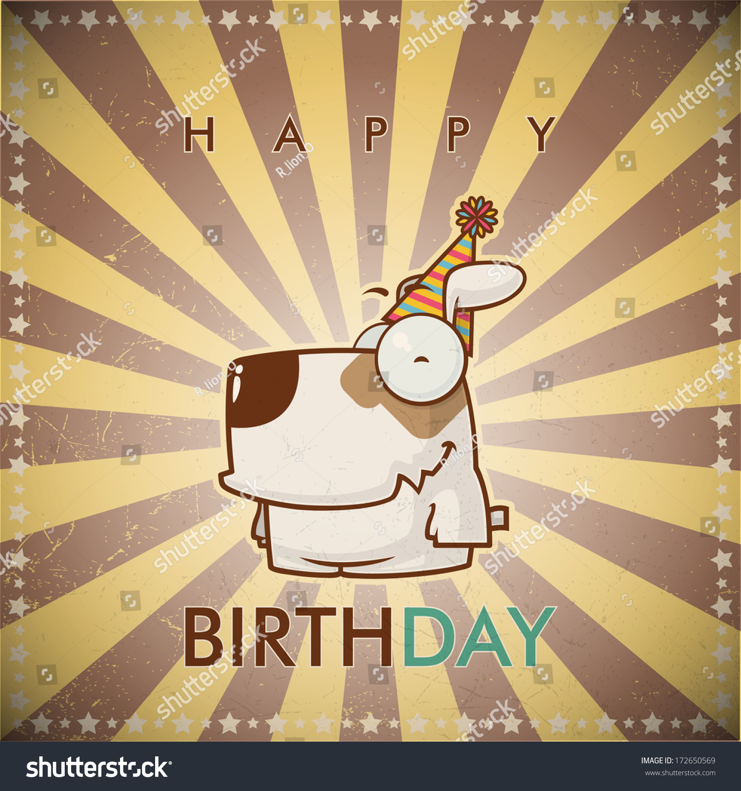Funny Happy Birthday Greeting Card With Cute Cartoon Dogs