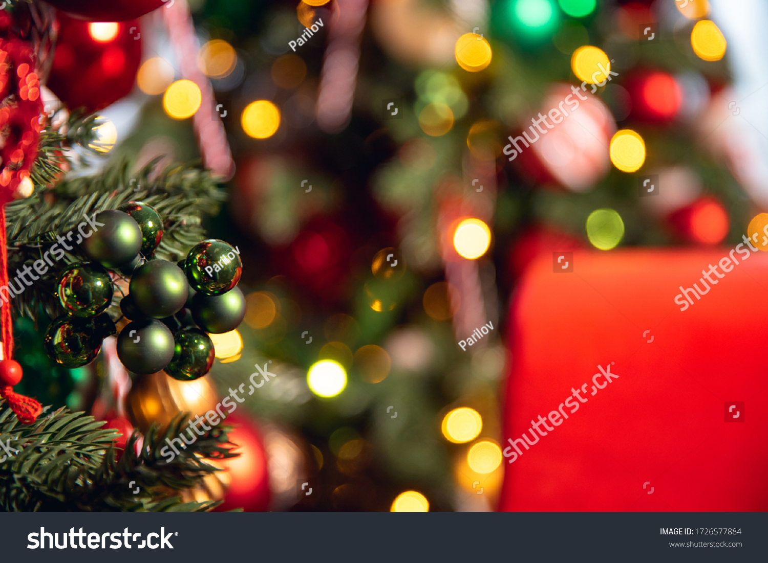 Christmas green pine tree with background bokeh light. #1726577884