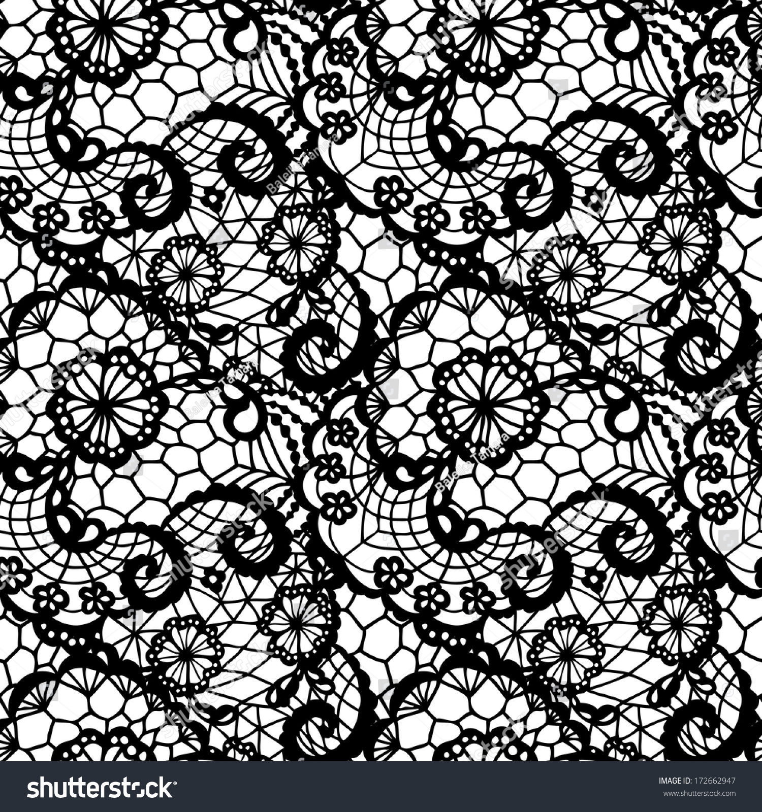 Black Flower Pattern Stock Images: Lace Black Seamless Pattern Flowers On Stock Vector