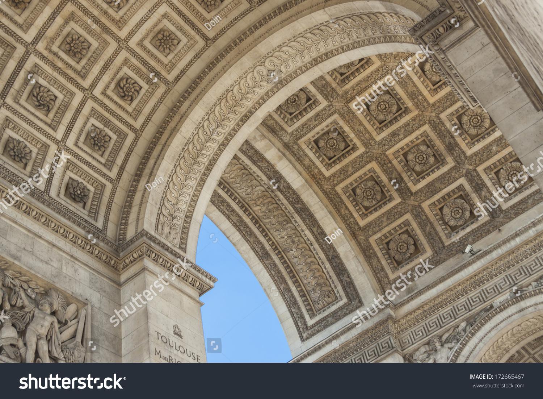 details the arc de triomphe paris france stock photo
