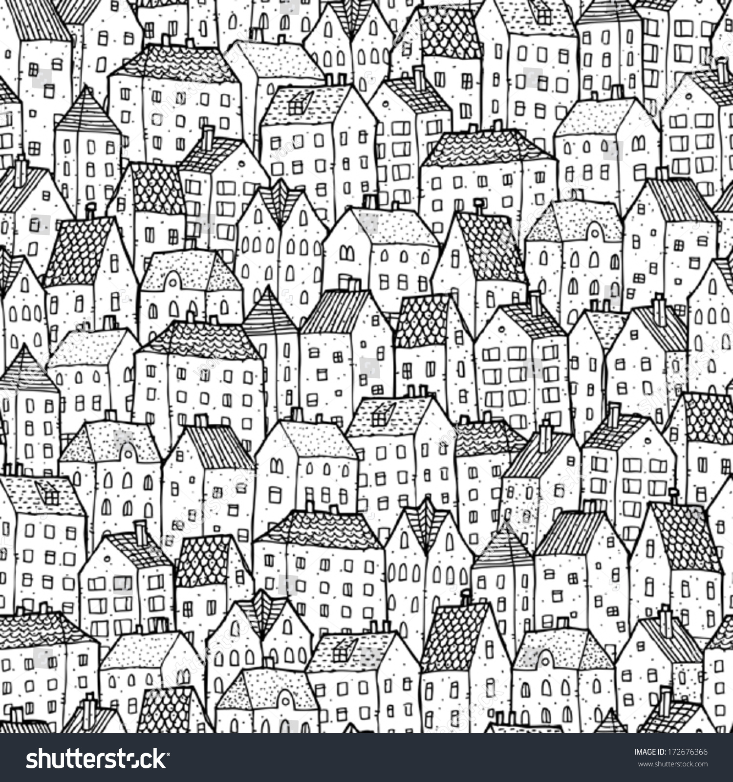 City Seamless Pattern In Black And White Is Repetitive